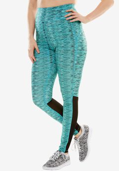 Mesh panel leggings by fullbeauty SPORT®, VIBRANT TURQ SPACE DYE, hi-res
