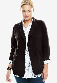 Shawl-Collar Woven Blazer, BLACK, hi-res