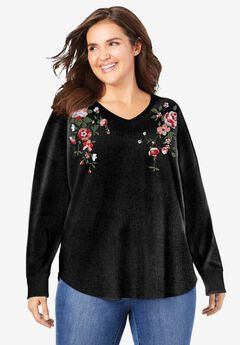 Washed Thermal V-Neck Tee, BLACK FLOWER EMBROIDERY