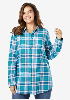 Classic Flannel Shirt, DEEP TURQUOISE MULTI PLAID