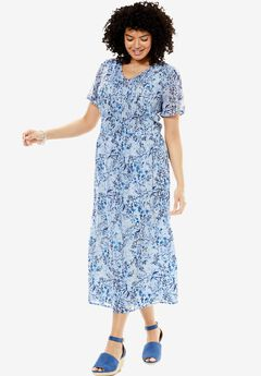 Printed Pintuck Dress,