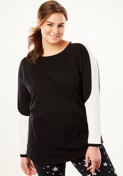 Mesh Colorblock Sweatshirt, BLACK WHITE, hi-res