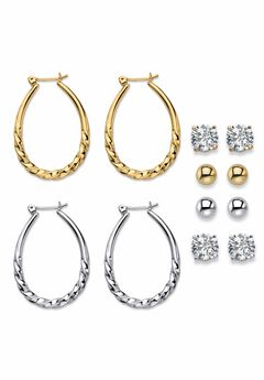 Cubic Zirconia Stud and Hoop Earrings 6-Pair Set,