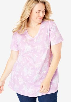 Perfect Printed V-Neck Tee, AMETHYST BUTTERFLY FLORAL