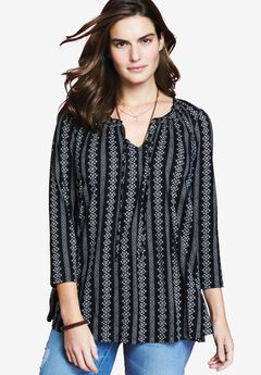 Notch Neck Tunic by Chelsea Studio®, ALL IN STRIPE, hi-res