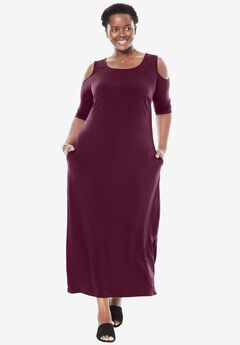 Cold-shoulder A-line maxi dress, MIDNIGHT BERRY, hi-res