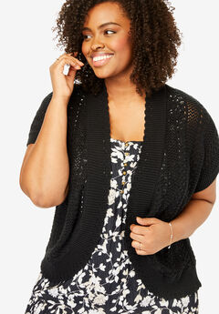 Pointelle-Knit Shrug, BLACK, hi-res