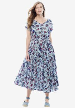 Tiered Floral Crinkle Dress, ICE BLUE WATERCOLOR TULIP