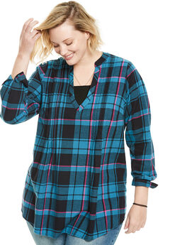 Pleat Front Notch Neck Plaid Flannel Tunic, BLUE TEAL PLAID