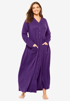 Long Snap-Front Knit Lounger by Only Necessities®, RICH VIOLET