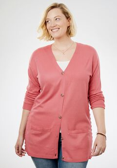 Side Lace-Up Button-Front Cardigan,