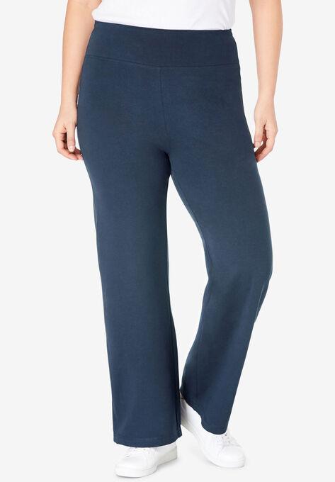 Stretch Cotton Wide Leg Pant