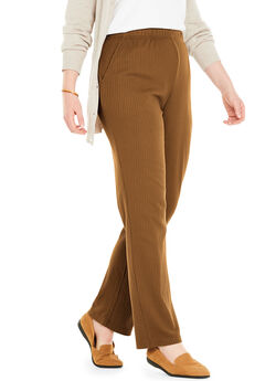 7-Day Knit Ribbed Straight Leg Pant, SOFT BROWN