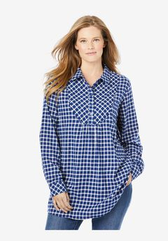 Henley Bib Flannel Shirt, EVENING BLUE PLAID