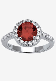 Sterling Silver Simulated Birthstone and Cubic Zirconia Ring by PalmBeach Jewelry,