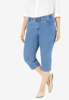 Tummy Tamer Capri Jean, LIGHT STONEWASH