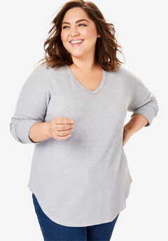 Long Sleeve V-Neck Thermal Tee, HEATHER GREY