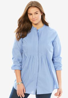 Perfect Pintuck Shirt, FRENCH BLUE