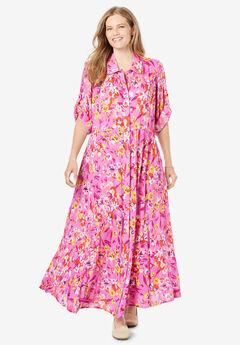 Crinkle Shirtdress, ROSE BUD PLAYFUL FLORAL