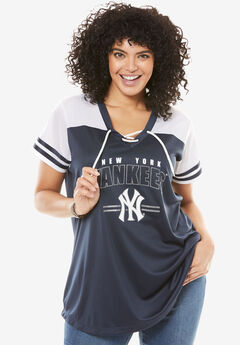 MLB Lace-up Tee, YANKEES, hi-res