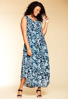 Sleeveless Maxi Dress by Chelsea Studio®, INDIGO WATER FLOWER, hi-res