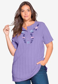 7-Day Knits Embroidered Pointelle Tunic by Only Necessities®,