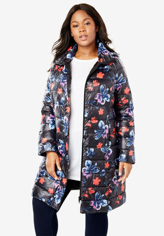 Long Packable Puffer Jacket, BLACK WATERCOLOR FLORAL