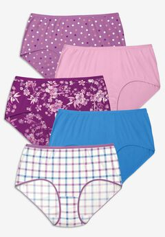5-Pack Pure Cotton Full-Cut Brief , PLAID PACK