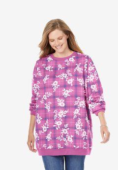 Fleece Sweatshirt, ROSE BUD FLORAL PLAID