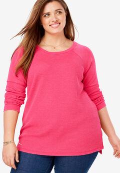 Raglan Washed Thermal Sweatshirt, VIBRANT ROSE