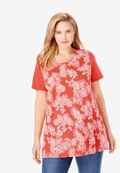 Short-Sleeve Puff Print Tunic,