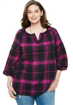 Split Neck Flannel Blouse, PINK BLACK PLAID
