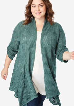 Open Front Pointelle Cardigan, ANTIQUE TEAL