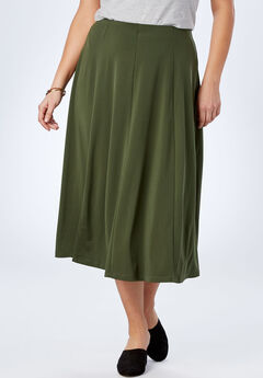 A-Line Knit Midi Skirt, FOREST GREEN, hi-res