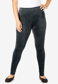 Stretch velour leggings, BLACK