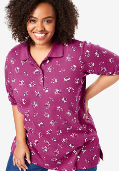 Short-Sleeve Tunic Polo Shirt, RASPBERRY SPACE FLORAL