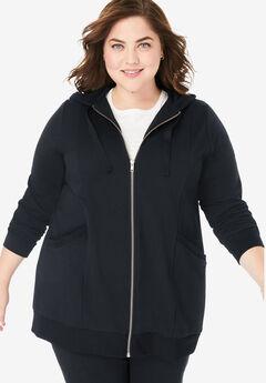 Zip front tunic hoodie, BLACK, hi-res
