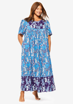 Mixed Print Long Lounger by Only Necessities®, RICH VIOLET CORNFLOWER