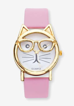 """Gold Tone Crystal Bowtie Cat Watch with Adjustable Pink Strap, 8"""","""