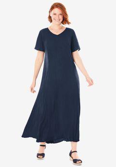 Crinkle Dress, NAVY