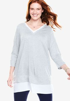 V-neck Mix Media Tunic,