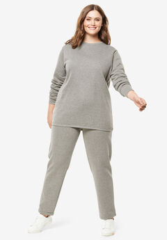 Fleece Sweatsuit, MEDIUM HEATHER GREY