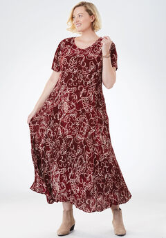 Crinkle Dress, RICH BURGUNDY SCROLL