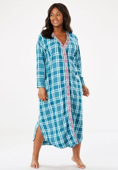 Woven Button-Up Lounger by Dreams & Co.®, DEEP LAGOON PLAID, hi-res