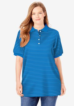 Elbow-Sleeve Polo Shirt, VIBRANT BLUE PENCIL STRIPE