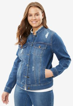 Frayed Denim Jacket, MEDIUM STONEWASH DISTRESSED, hi-res