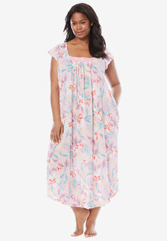 Whisperweight Gauze Nightgown by Dreams & Co.®, GARDEN ROSE FLORAL, hi-res