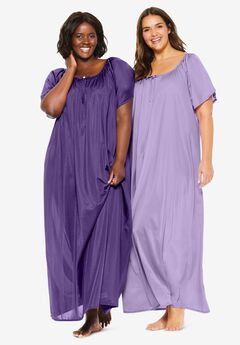 2-Pack Long Silky Gown , PLUM BURST SOFT IRIS