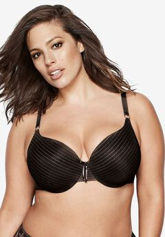 Icon Stripe Lace Bra by Ashley Graham®, BLACK, hi-res