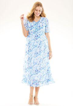 Pintuck print dress, BLUE GARDEN FLORAL, hi-res
